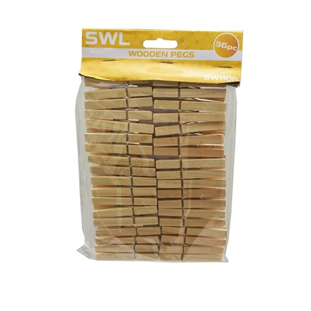 SWL - WOODEN PEGS - 36 PACK