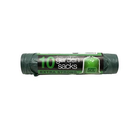 10 TIE HANDLE GARDEN BAGS 50L