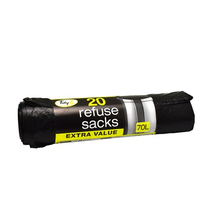 EXTRA STRONG REFUSE SACKS 70L - 20 PACK