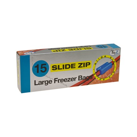 TIDYZ - LARGE FREEZER BAGS SLIDE ZIP - 15 PACK