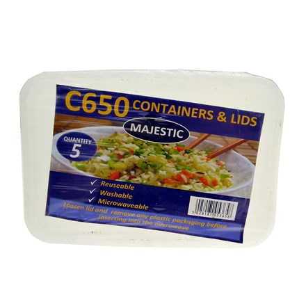 MAJESTIC - PLASTIC CONTAINERS & LIDS C650 - 5 PACK