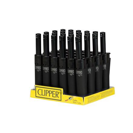 CLIPPER-MINI TUBE LIGHTER-BLACK SOFT TOUCH-24 PACK