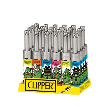 CLIPPER MINI TUBE LIGHTER - LEAVES 10 - 24 PACK