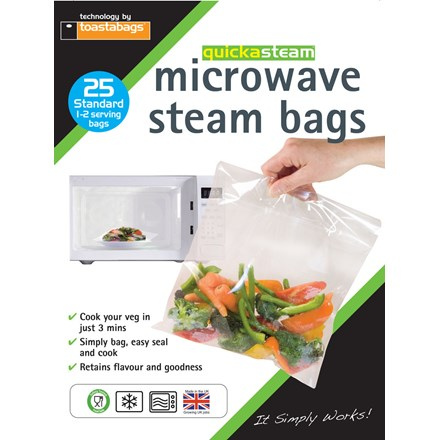 TOASTABAGS - MICROWAVE STEAM BAGS - 25 PACK
