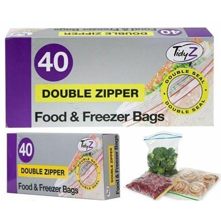 TIDYZ - FOOD BAGS DOUBLE ZIPPER - 40 PACK