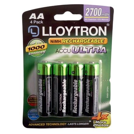LLOYTRON RECHARGEABLE AA - 4 PACK 2700MAH