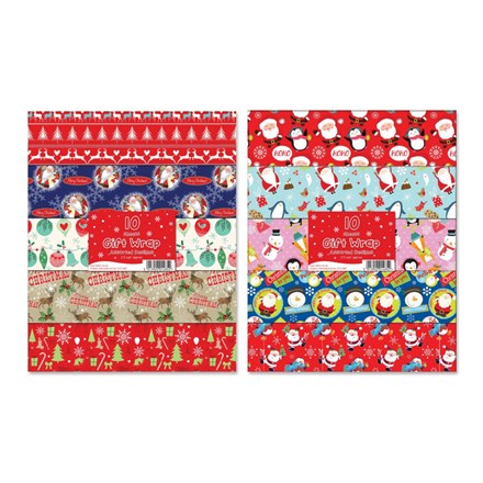 ASSORTED GIFT WRAP - 50X70CM - 8 PACK