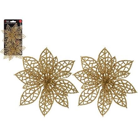 2PK CLIP ON XMAS POINSETTIA DECORATION - GOLD