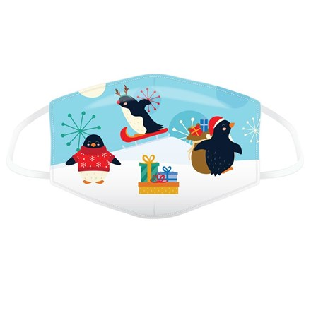 REUSABLE FACE MASK - XMAS PENGUINS - SMALL