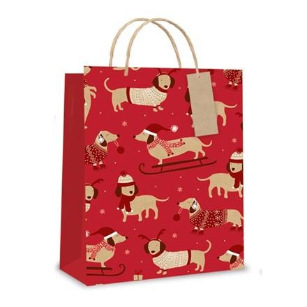XMAS GIFT BAG - RED SAUSAGE DOG - LARGE