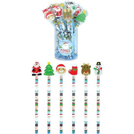 CHRISTMAS PENCILS WITH ERASER TOP
