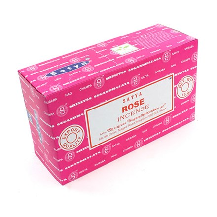 SATYA - ROSE INCENSE STICKS - 15G X 12 PACK