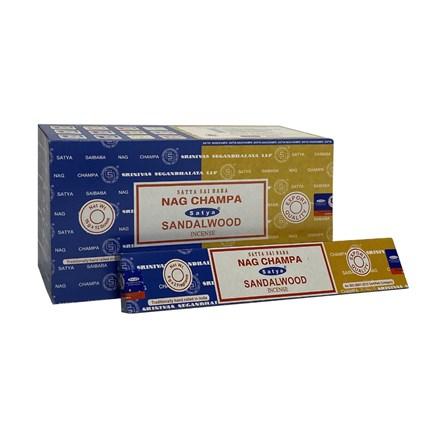 SATYA COMBO - NAG CHAMPA + SANDALWOOD  - 12 PACK