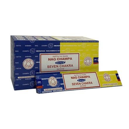 SATYA COMBO - NAG CHAMPA + SEVEN CHAKRA - 12 PACK