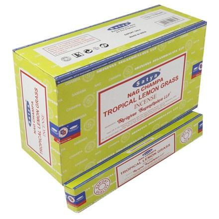 SATYA-TROPICAL LEMONGRASS INCENSE STICKS-15G X12PK