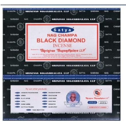 SATYA -BLACK DIAMOND INCENSE STICKS -15G X 12PACK