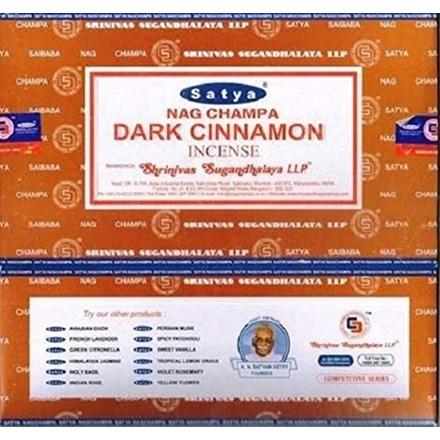SATYA-DARK CINNAMON INCENSE STICKS -15G X 12PACK