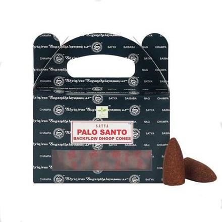 SATYA BACKFLOW DHOOP CONES - PALO SANTO - 6X24PK