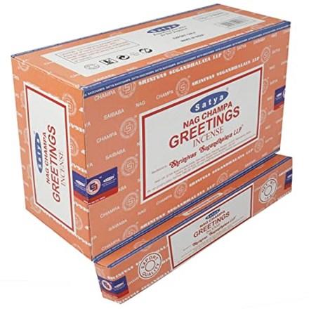 SATYA - GREETINGS INCENSE STICKS - 15G X 12 PACK