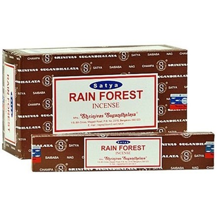 SATYA - RAIN FOREST INCENSE STICKS - 15G X 12 PACK