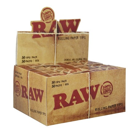 RAW ROLLING PAPER TIPS - 50 PACK