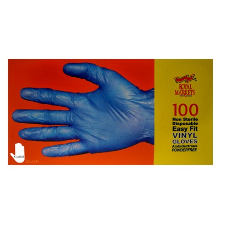 VINYL DISPOSABLE GLOVES BLUE - EXTRA LARGE SIZE