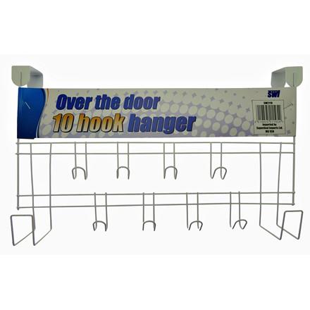 SWL - WHITE OVER THE DOOR HANGER 10 HOOKS