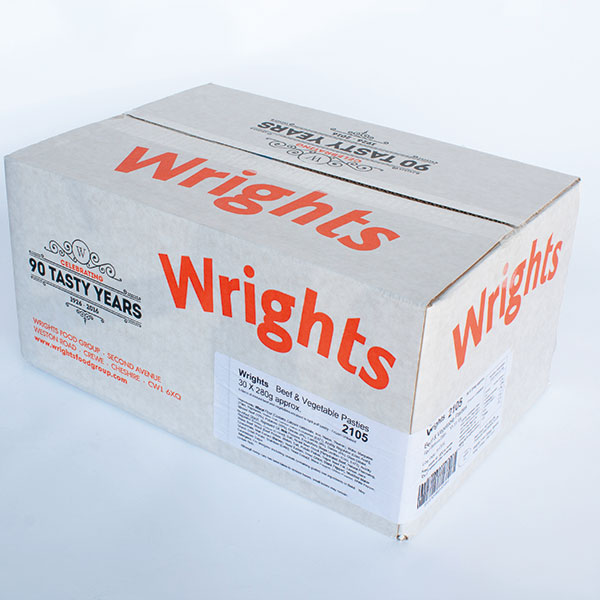 Image of Wrights Cornish Pastys Frozen Uncooked 30 x 216g