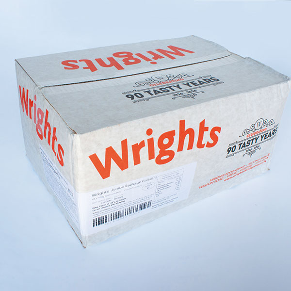 Wrights Frozen Uncooked Sausage Rolls 8inch x 48