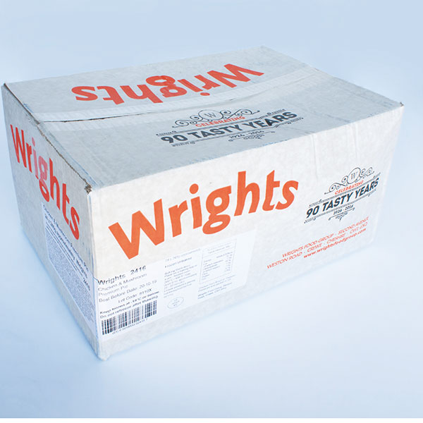 Image of WRIGHTS PREMIUM Chicken and Mushroom Pies 24 x 240g
