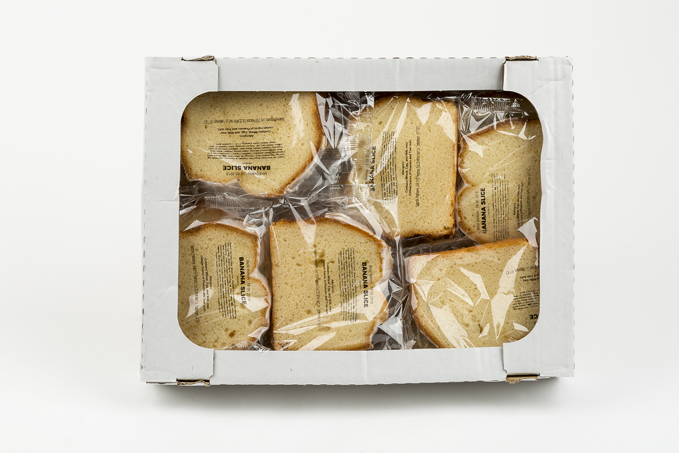 Image of Box of wrapped Banana cake slices x 18