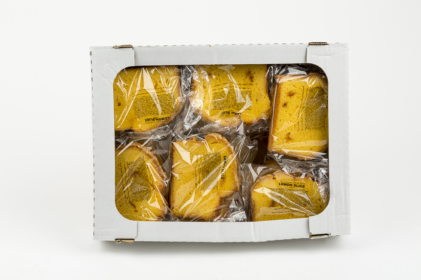 Image of Box of wrapped lemon cake slices x 18