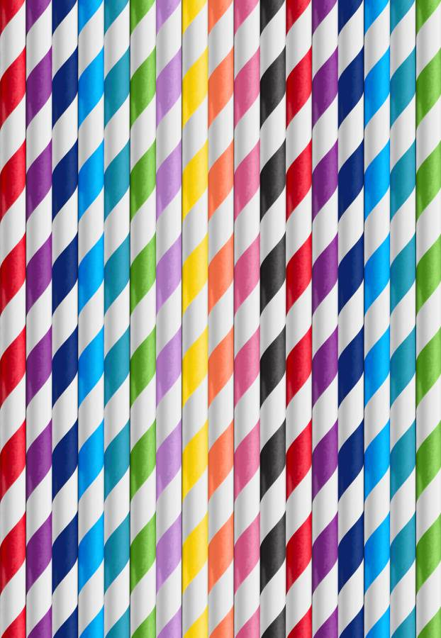 Image of Paper Straws 1 box (250) Multi Colours in box