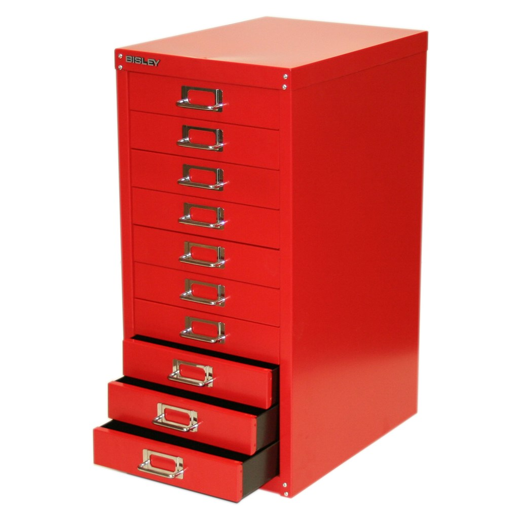 red filing cabinet bisley 10 15 drawer multidrawer a4 filing storage 25170