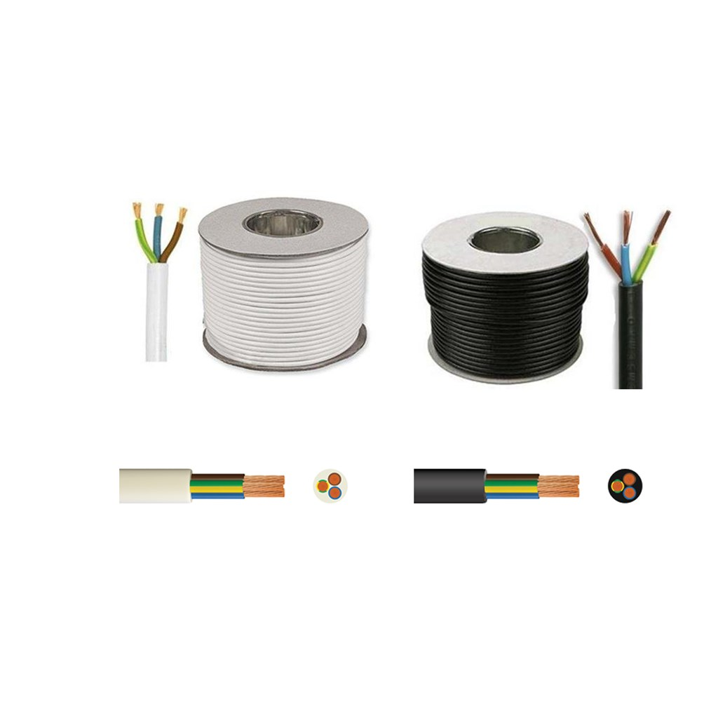 Round Mains Cable 3183Y 3-Core 10A White 1.0mm� x 50m
