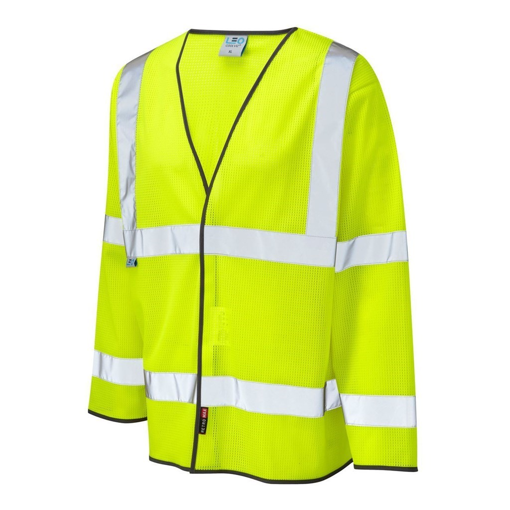 XL, Yellow Leo Workwear S08 Brayford FR Vest Hi Vis Flame Retardant Waistcoat Long Sleeves