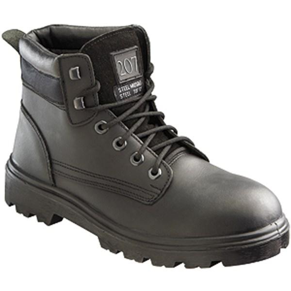 Graft Gear G207 Black Mid-Cut Safety Work Boot S3 EN20345 Leather Upper PU Sole