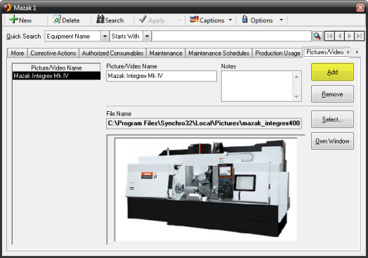 Maintenance Module Screen