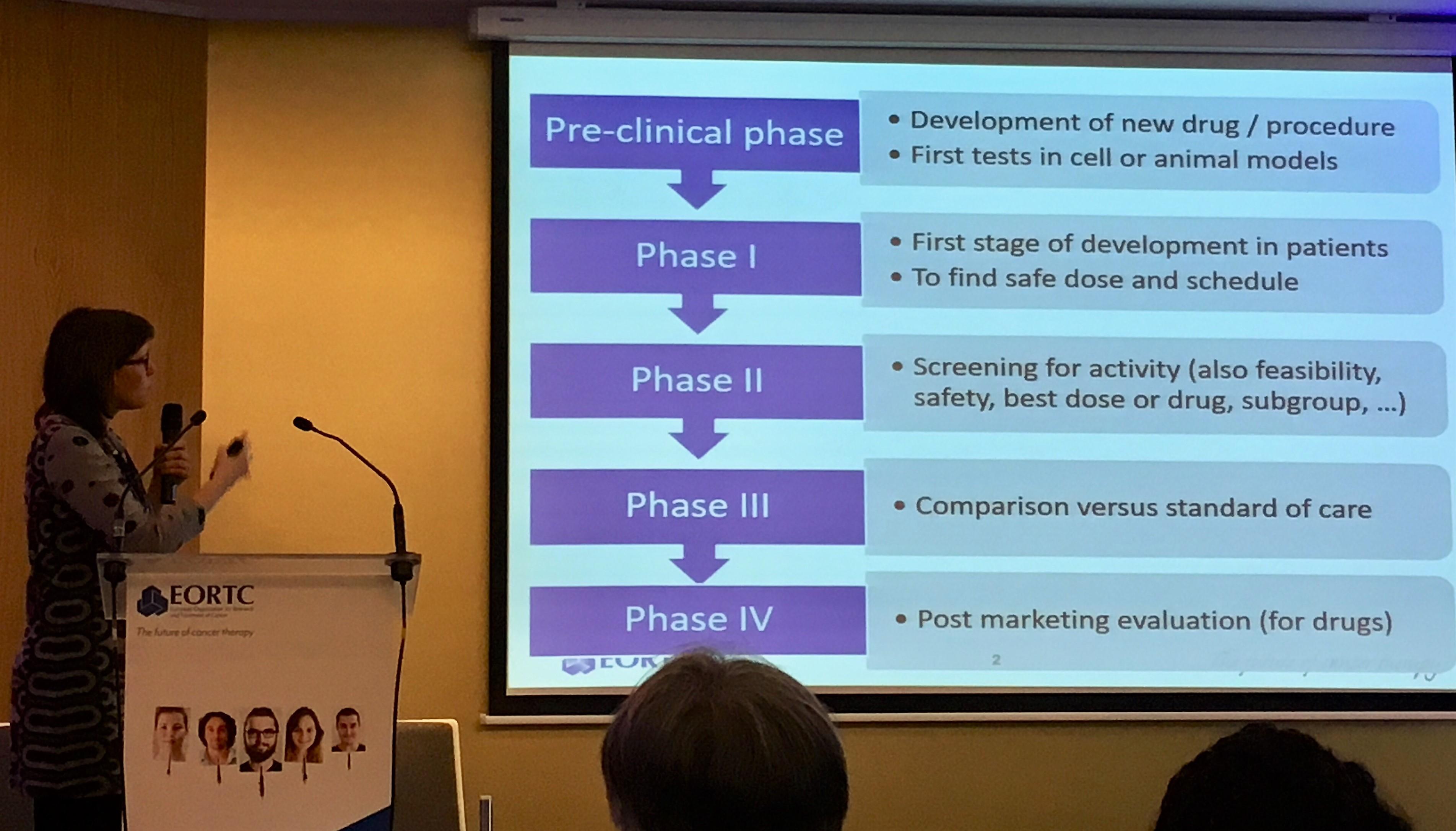 Biotilastotieteilijä Saskia Litière (EORTC) kuvailee kliinisen tutkimuksen eri vaiheita. Kuva: Emma Andersson
