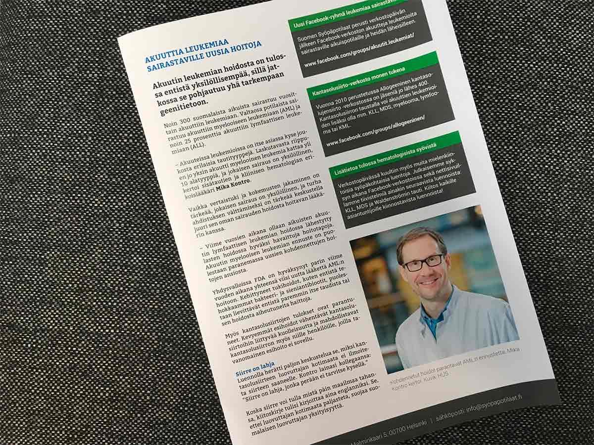 Kuva hematologisten syöpien potilastapahtumasta tehdystä uutiskirjeestä