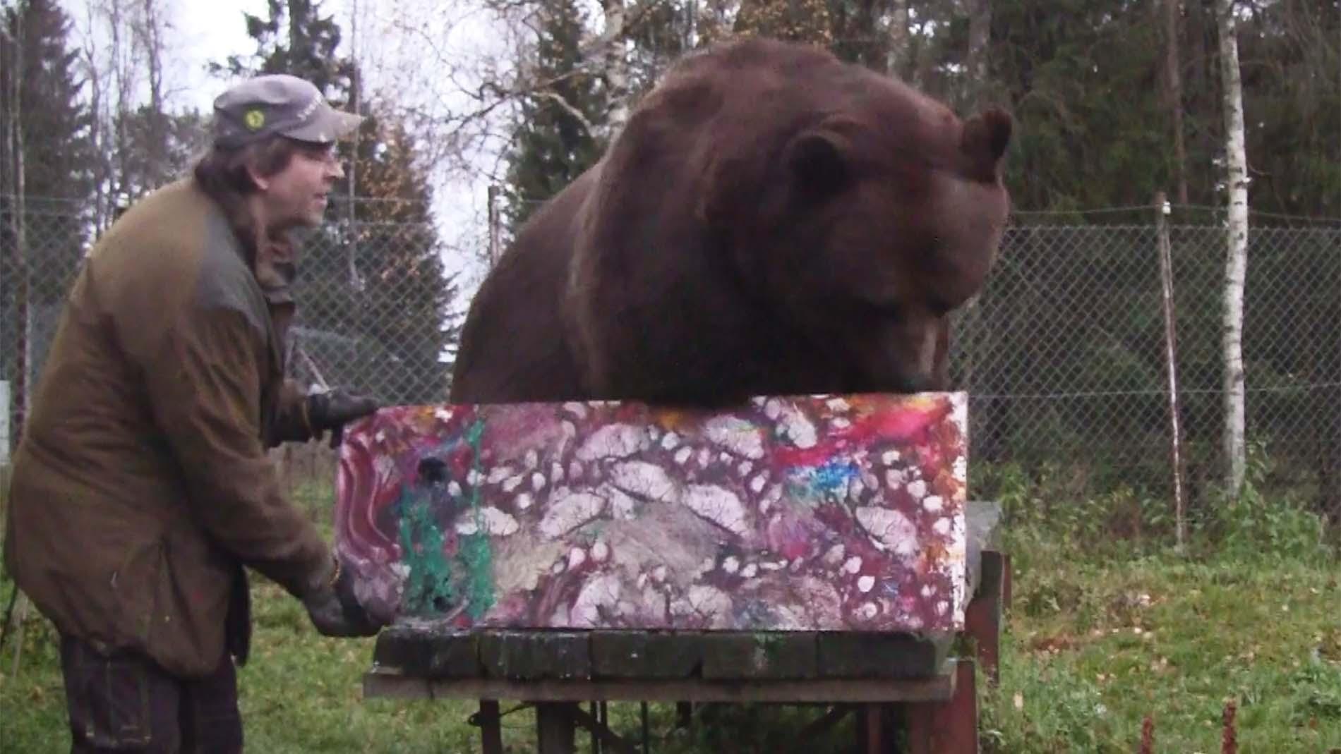 Juuso-karhu maalasi taulun syöpätutkimuksen hyväksi