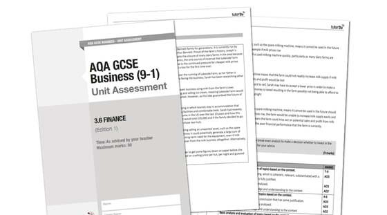 AQA GCSE Business (9-1) Unit Assessment for 3.6 (Finance) | Business | tutor2u
