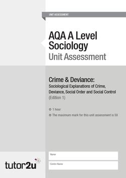 crime and deviance sociology crime deviance aqa a level sociology unit assessment part 1