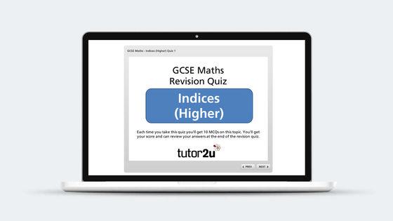 Indices Revision Quiz Maths Tutor2u