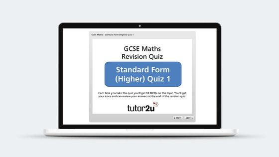 Standard Form Revision Quiz Tutor2u Maths