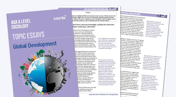 global development  aqa a level sociology topic