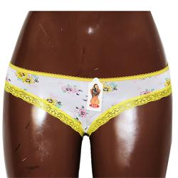 DSL White-Yellow-Coloured Floral Print Ladies PantSz w25