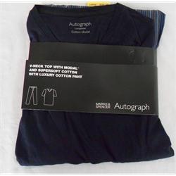 M & S Navy Blue Mix Relax Pure Cotton Men's T Shirt & Long Pant Sz