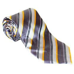 Gray-Yellow-White Striped MenTie