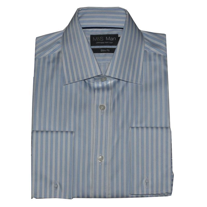 M&S Man Blue Cotton Stripe Slim Fit  L Sleeve Men's Shirt Sz 15